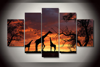 Giraffe Sunset Silhouette 5-Piece Wall Art Canvas - Royal Crown Pro