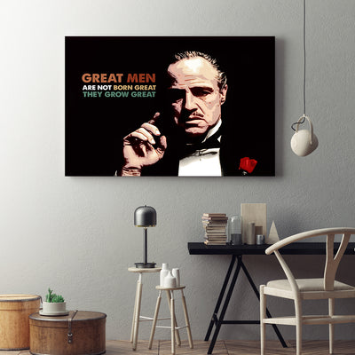 Great Men Are Not Born Great Godfather Quote Framed Canvas Wall Art - Royal Crown Pro
