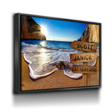 Personalized Names Date Beach Sign Canvas Wall Art - Royal Crown Pro