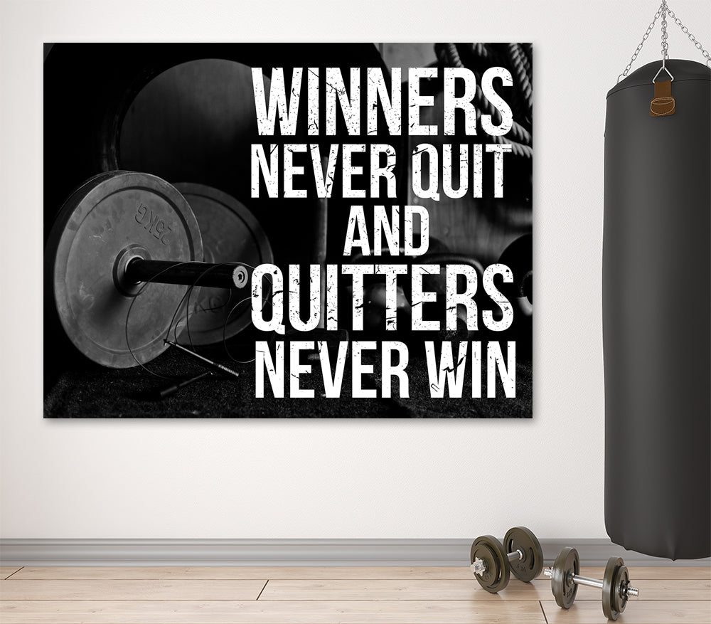 Winners Never Quit And Quitters Never Win Motivational Gym Fitness Framed Wall Art Canvas - Royal Crown Pro