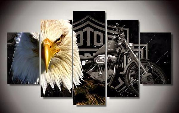 Eagle Motorcycle 5-Piece Wall Art Canvas - Royal Crown Pro
