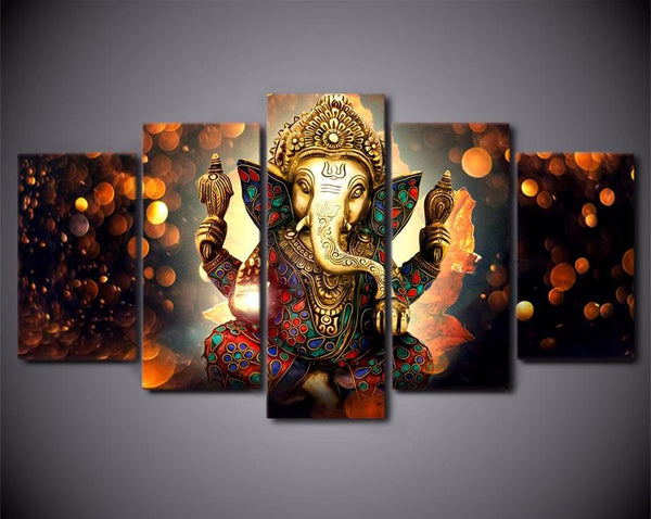 Ganesh Hindu Elephant God Ganesha 5 Piece Wall Art Canvas