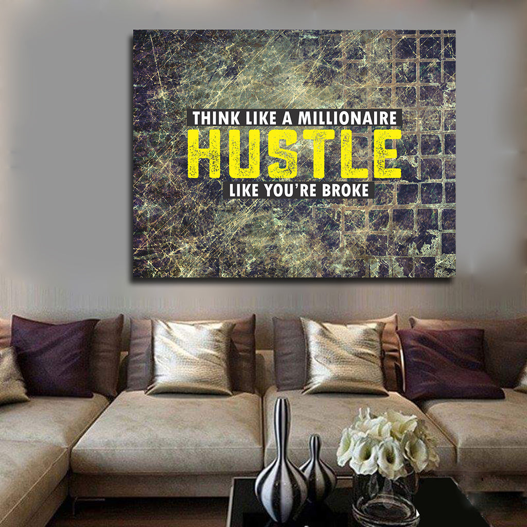 Hustle Wall Art Think Like A Millionaire Hustle Like You're Broke Framed Canvas Wall Art - Royal Crown Pro