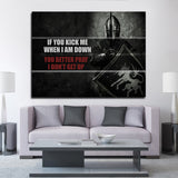 If You Kick Me When I'm Down Motivational Framed Wall Art Canvas Decor Medieval Art - Royal Crown Pro