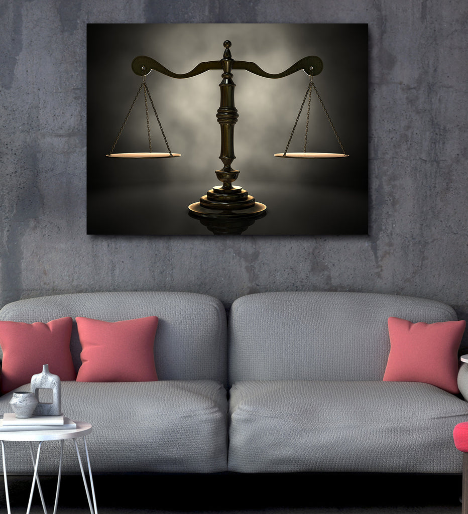 Scales of Justice Canvas Wall Art, Lawyer Office Decor, Attorney Print, - Royal Crown Pro