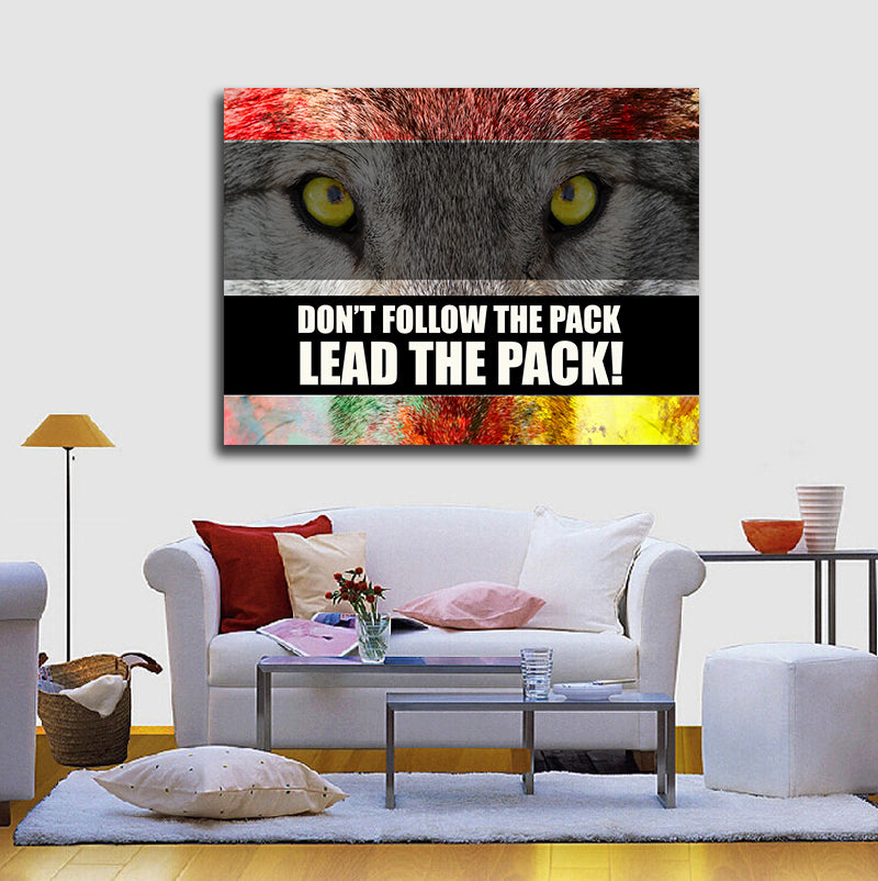 Don\'t Follow The Pack Lead The Pack! Framed Canvas Wall Art Motivation