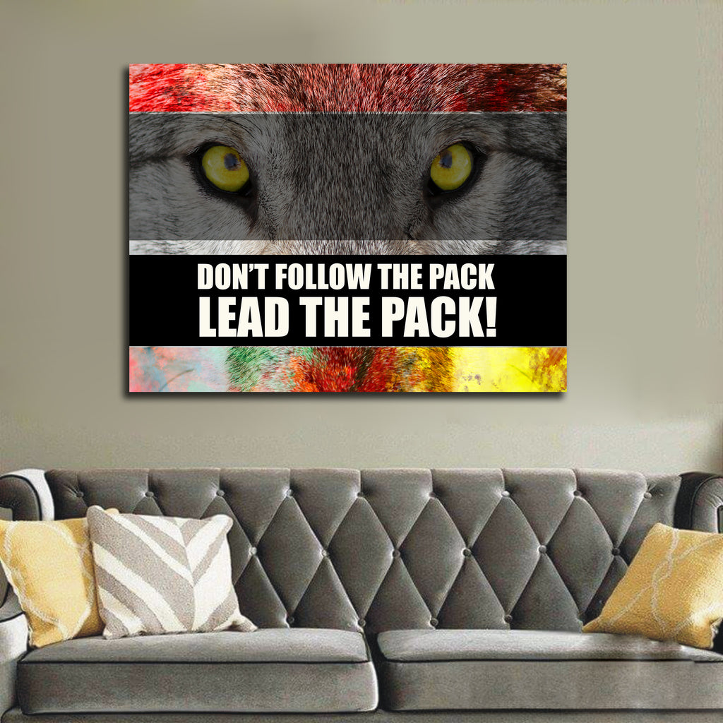 Don't Follow The Pack Lead The Pack! Framed Canvas Wall Art Motivational Office Art Wolf Art - Royal Crown Pro