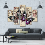 Butterflies In Motion 5-Piece Wall Art Canvas - Royal Crown Pro