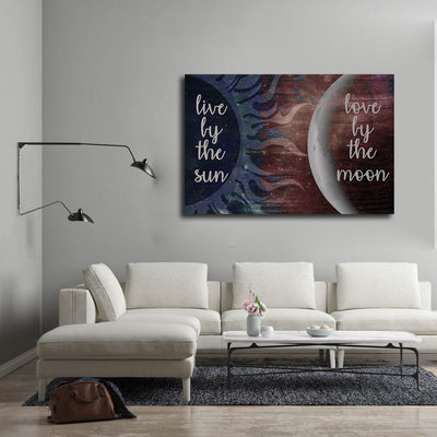 Live By The Sun Love By The Moon Canvas Wall Art - Royal Crown Pro