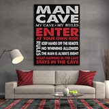 Man Cave Sign Canvas Wall Art, Man Cave Decor - The Perfect Man Cave Gift Man Cave Wall Art - Royal Crown Pro
