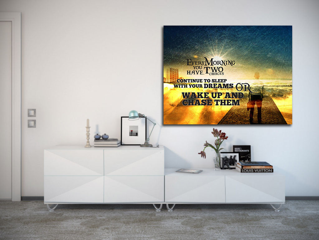 ... Wake Up And Chase Your Dreams Motivational Wall Art Canvas   Royal  Crown Pro