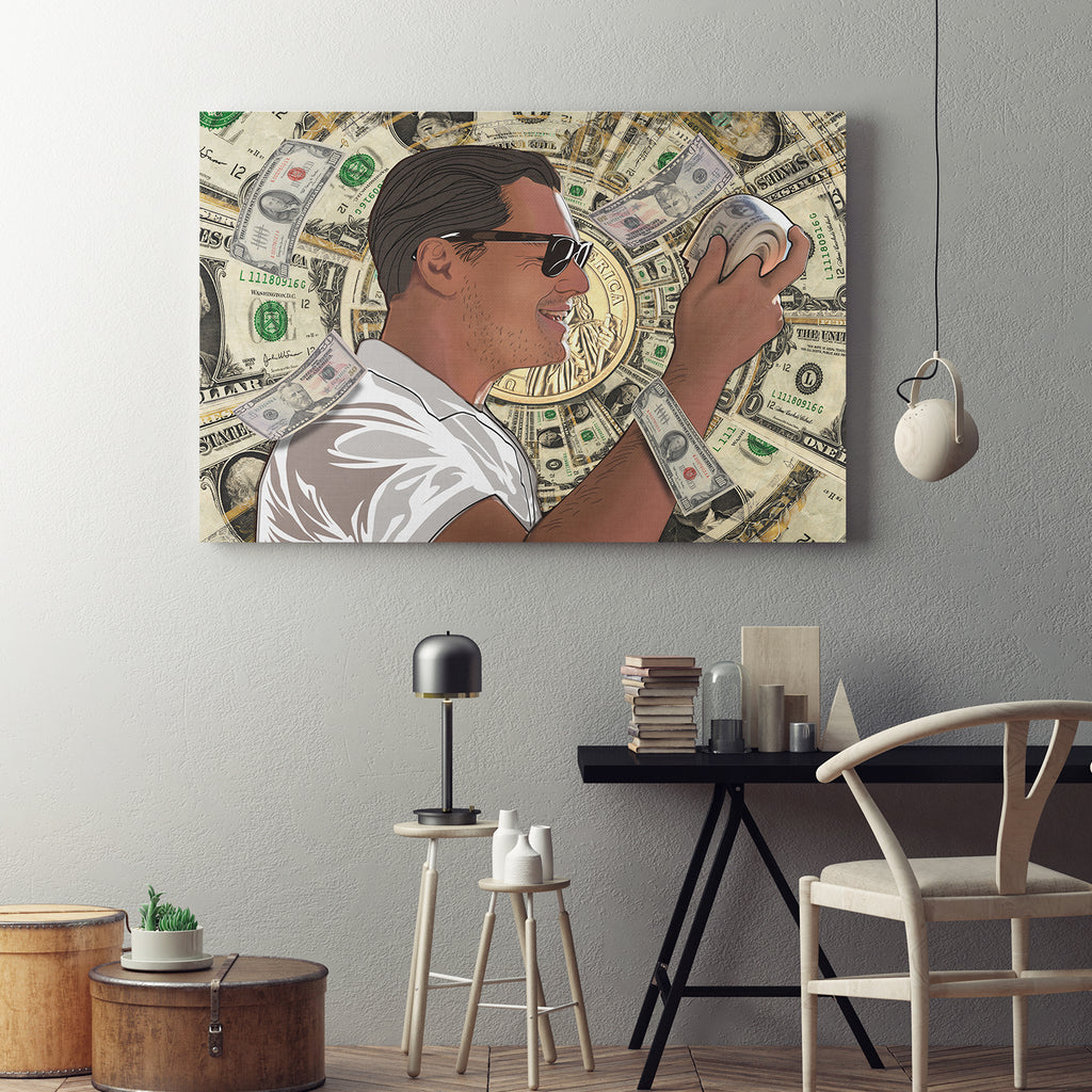 Money Roll Wolf of Wall Street Framed Canvas Art DiCaprio Art - Royal Crown Pro