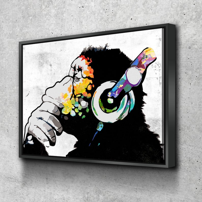 Monkey Headphones DJ Canvas Wall Art - Royal Crown Pro