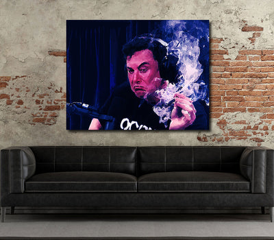 Smoking With Rogan Canvas Wall Art, Elon Musk Interview Joe Rogan - Royal Crown Pro