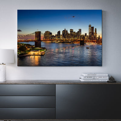 Brooklyn Bridge Lower Manhattan Framed Canvas Wall Art East River New York City - Royal Crown Pro