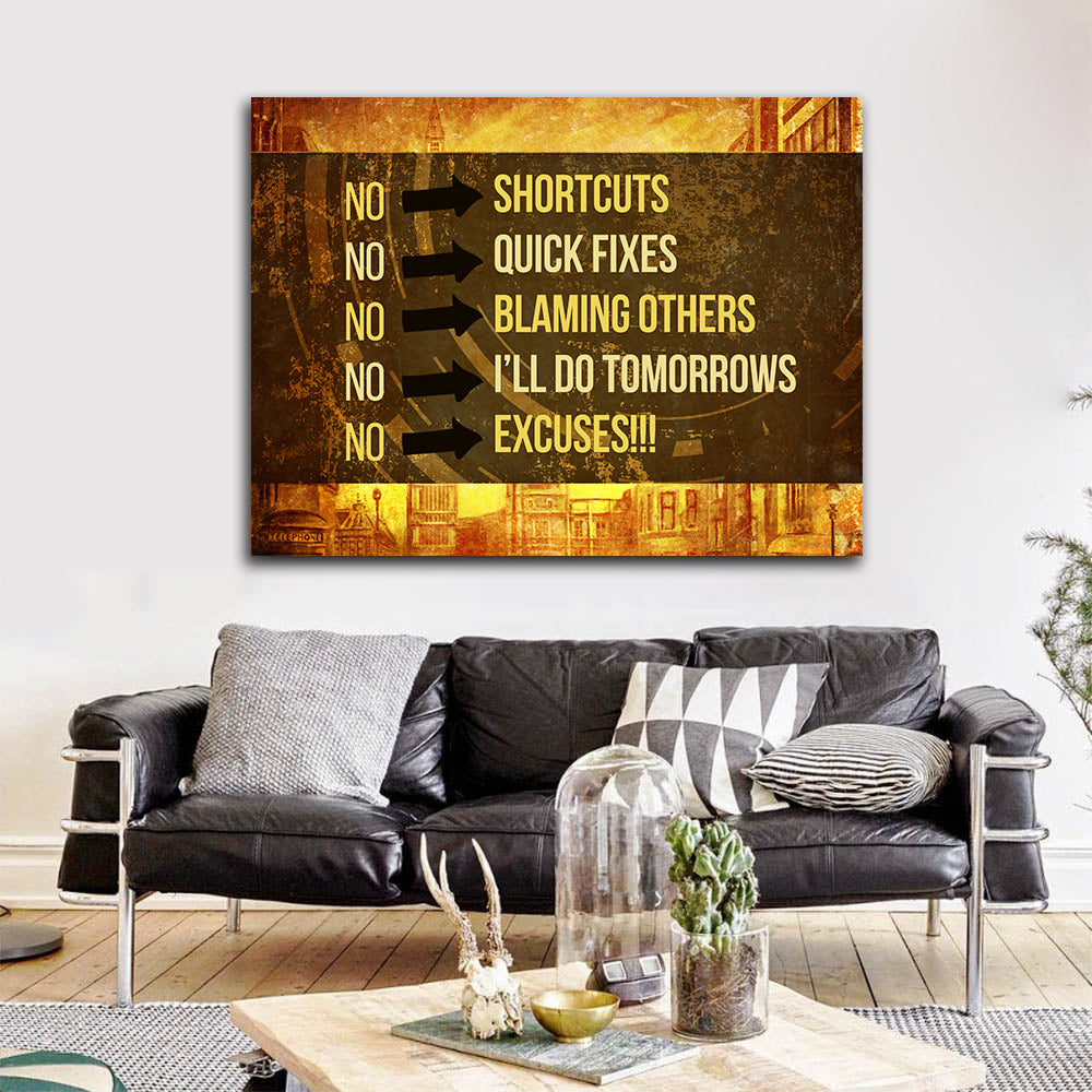 No Shortcuts No Excuses Motivational Canvas Wall Art - Royal Crown Pro