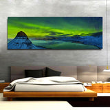 Northern Lights Aurora Borealis Framed Canvas Wall Art Landscape Iceland Decor Kirkjufell Mountain - Royal Crown Pro