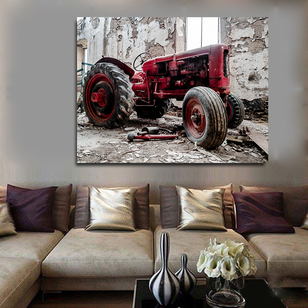 Old Red Tractor Framed Canvas Wall Art Farming Farmers Collection Farm Tractor Farm Decor - Royal Crown Pro