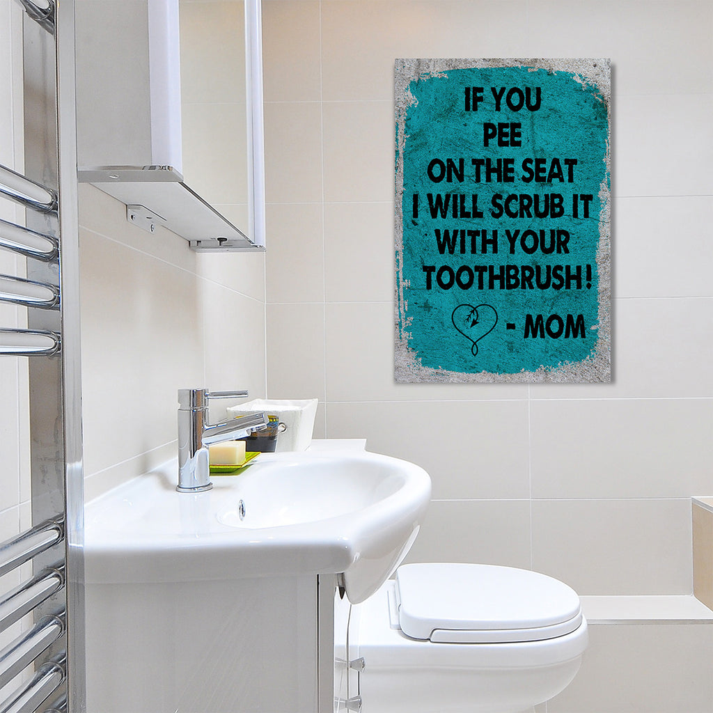Bathroom Art Framed Canvas Wall Art If You Pee On The Seat I Will Scru