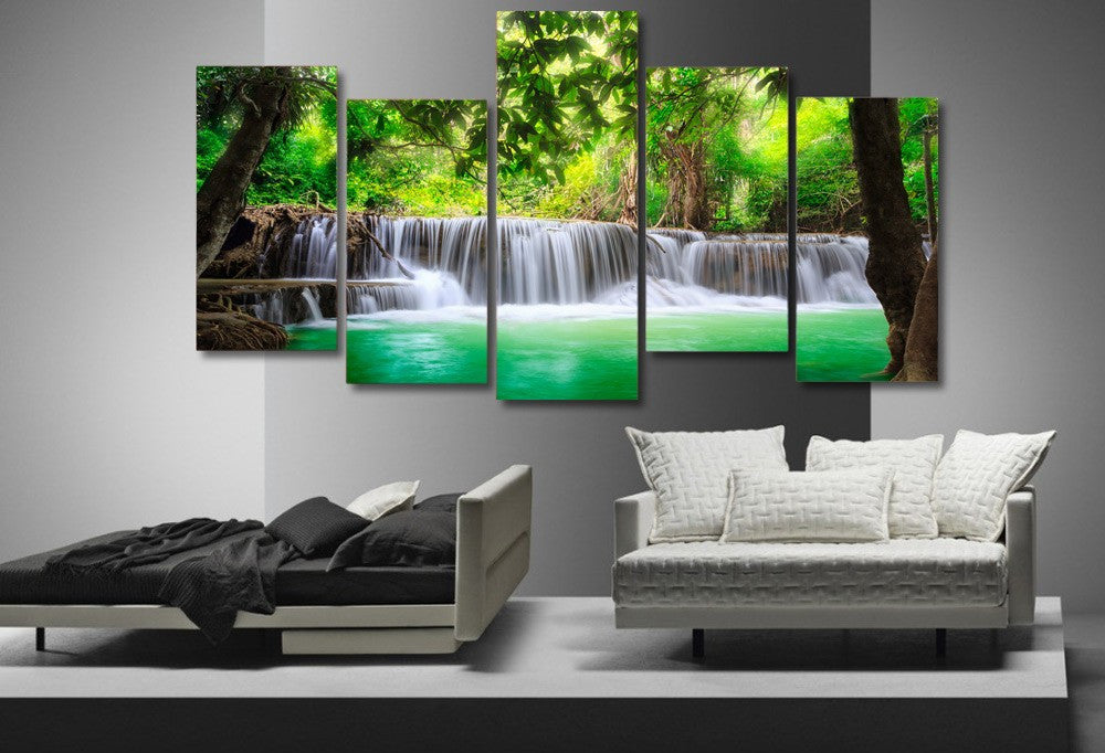 Paradise Tropical Waterfall 5-Piece Wall Art Canvas - Royal Crown Pro