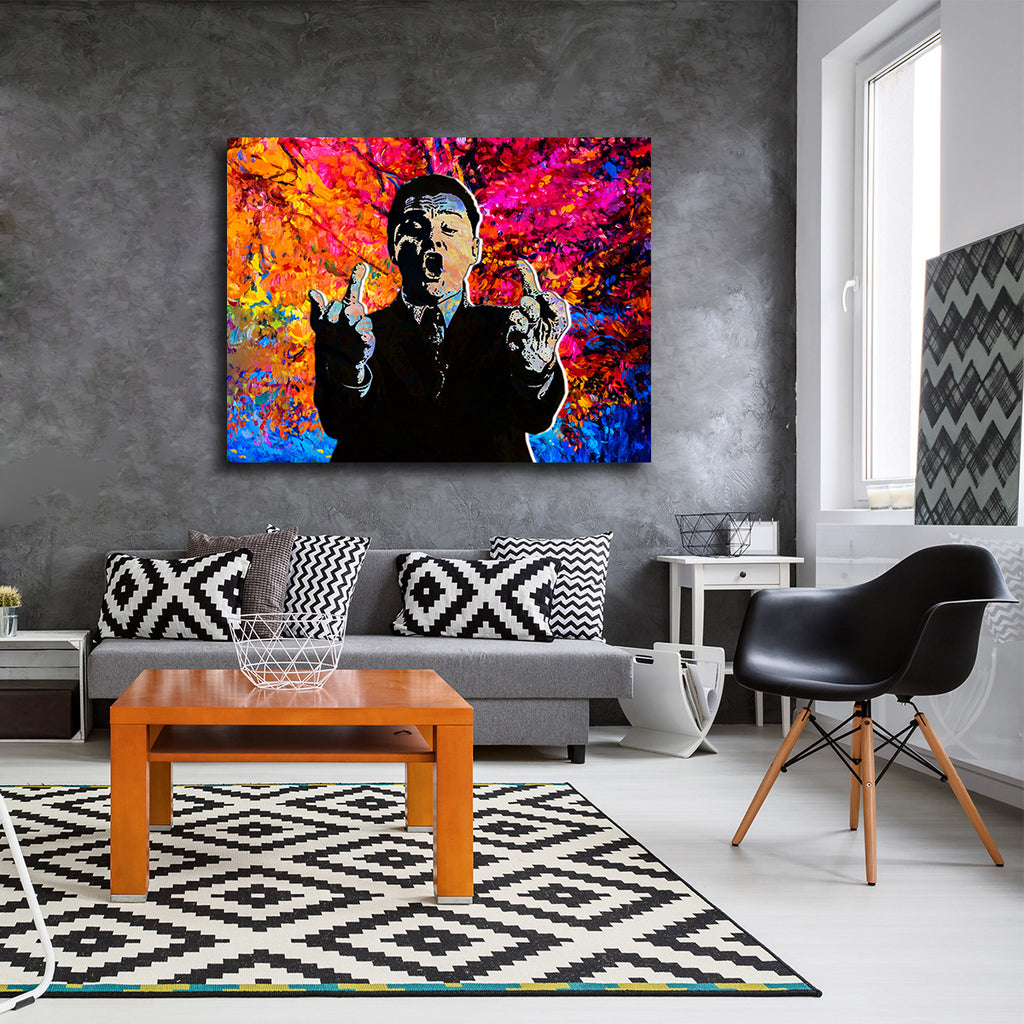 Phone Flip Off Wolf of Wall Street, Canvas Wall Art - Royal Crown Pro