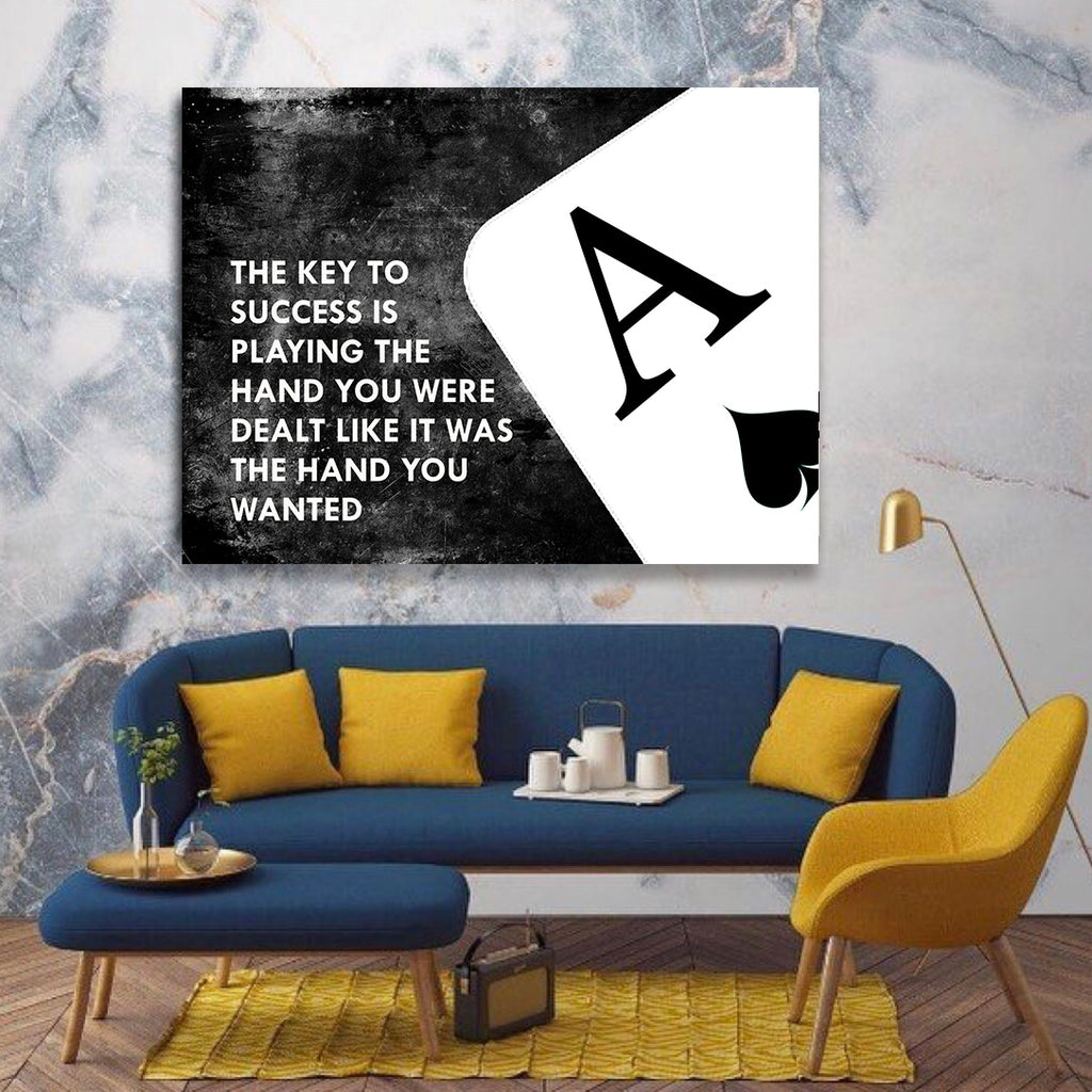 The Key To Success Is Playing The Hand You Were Dealt Canvas Wall Art - Royal Crown Pro