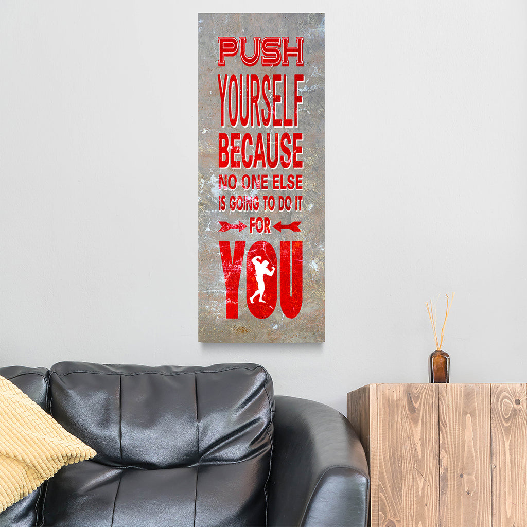 Push Yourself Gym Fitness Motivational Canvas Wall Art Men's Fitness Motivation Decor - Royal Crown Pro