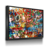 Graffiti on The Lennon Wall Canvas Framed Wall Art - Royal Crown Pro