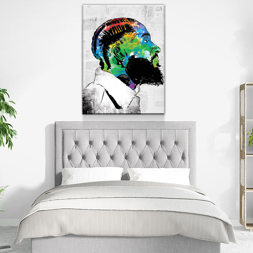 Nipsey Hussle Canvas Wall Art - RIP Nipsey, American Rapper - Royal Crown Pro