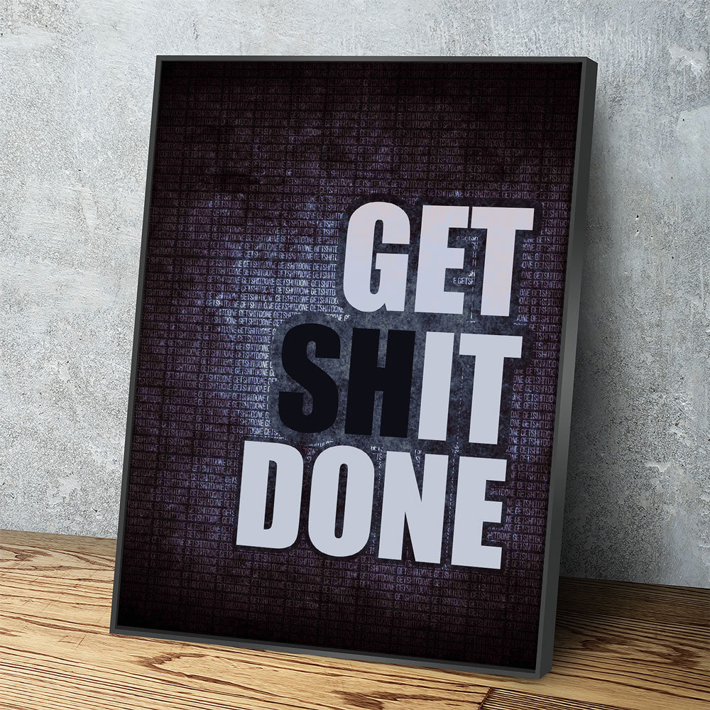 Get It Done Canvas Wall Art Motivational Quote - Royal Crown Pro