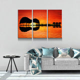 Guitar Tree Lake Sunset 3-Piece Wall Art Canvas - Royal Crown Pro