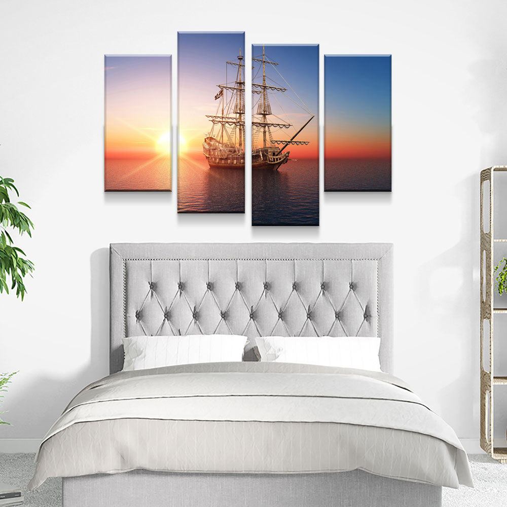 Pirate Ship Sunset On Calm Sea 4-Piece Wall Art Canvas - Royal Crown Pro