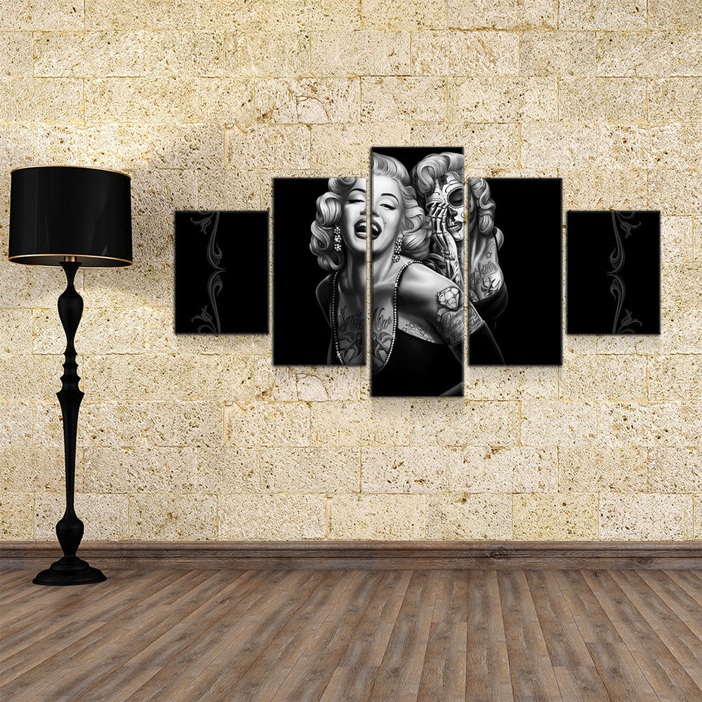 Marilyn Monroe Smile Now Cry Later 5-Piece Wall Art Canvas - Royal Crown Pro