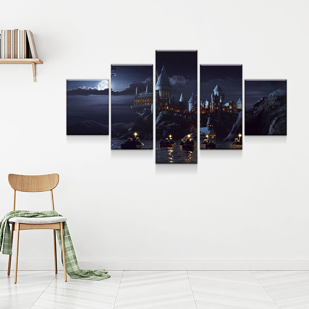 Harry Potter School Castle 5-Piece Wall Art Canvas - Royal Crown Pro