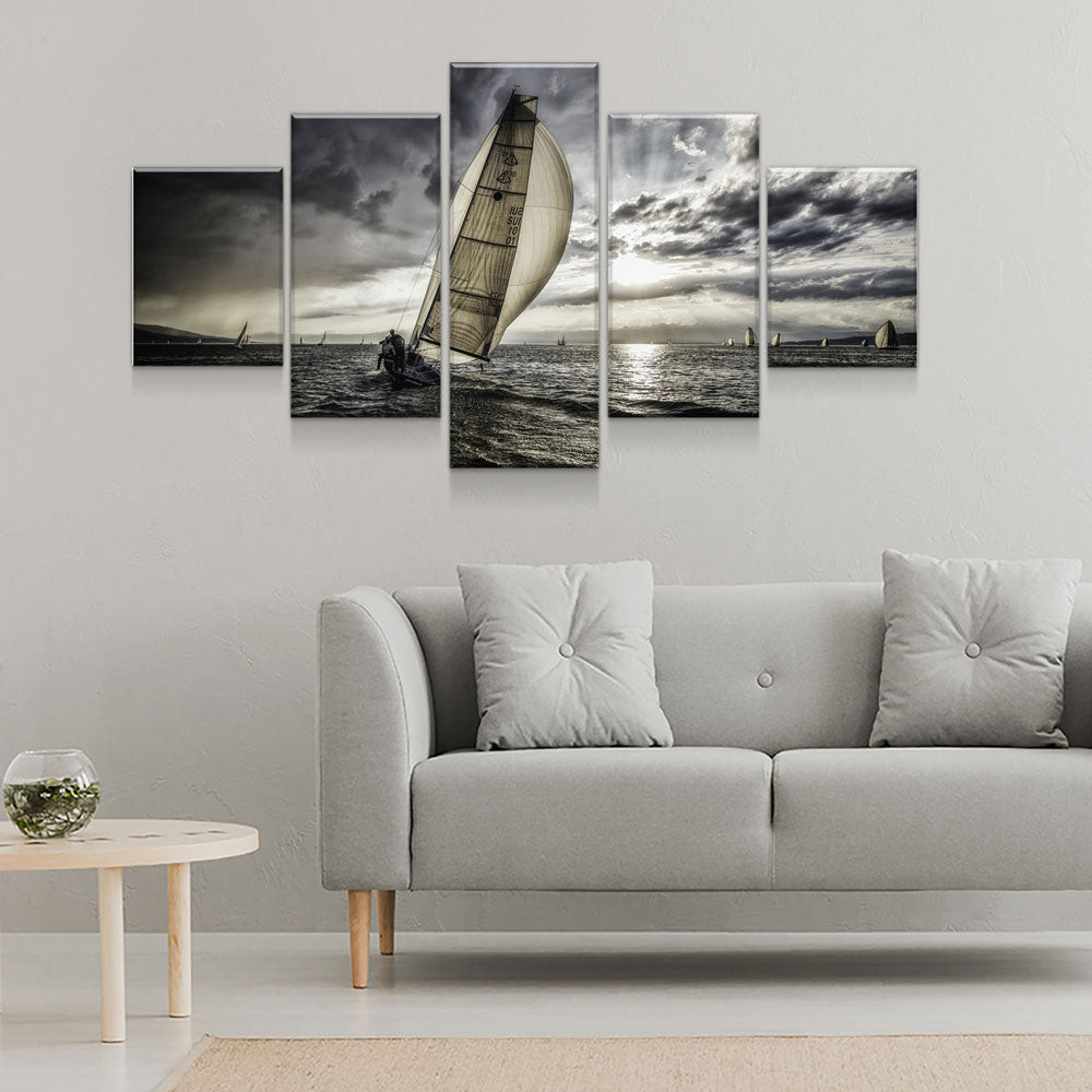 Lonely Sails Drifter Sailboat 5-Piece Wall Art Canvas - Royal Crown Pro