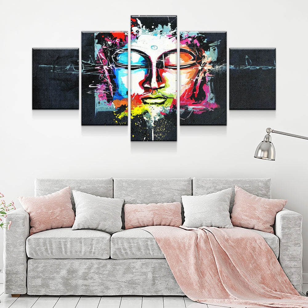 Buddha Mind Abstract 5-Piece Wall Art Canvas - Royal Crown Pro