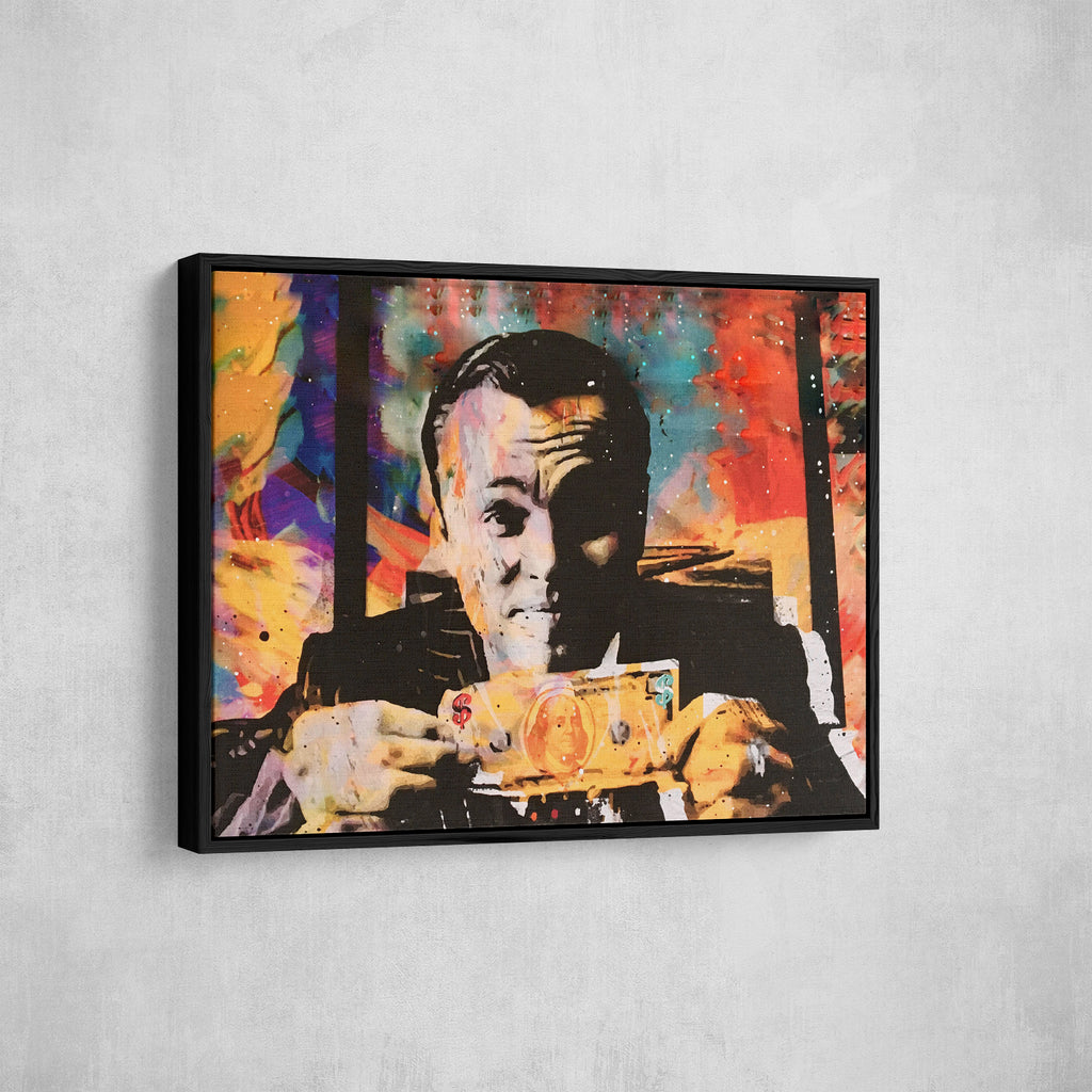 Wolf Of Wall Street Money Talks Abstract Canvas Wall Art Invincible - Royal Crown Pro