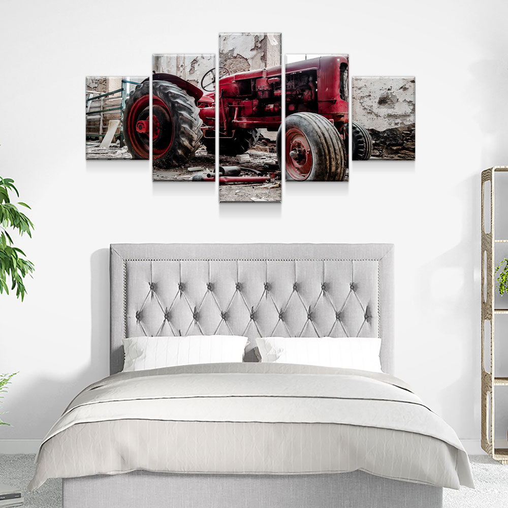 Old Red Tractor 5-Piece Wall Art Canvas - Royal Crown Pro
