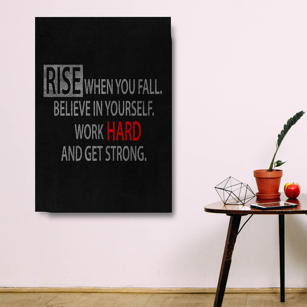 Rise When You Fall Believe In Yourself Work Hard And Get Strong Framed Wall Art Motivational Decor - Royal Crown Pro