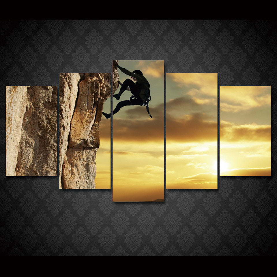 Rock Climbing Extreme 5-Piece Wall Art Canvas - Royal Crown Pro