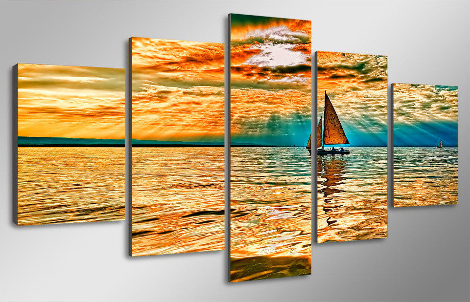 Sailing Sun 5-Piece Wall Art Canvas Sailboat On The Ocean Sunset