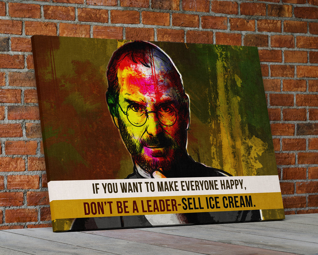Steve Jobs Quote Abstract Canvas Wall Art Motivational Art If You Want To Make Everyone Happy - Royal Crown Pro
