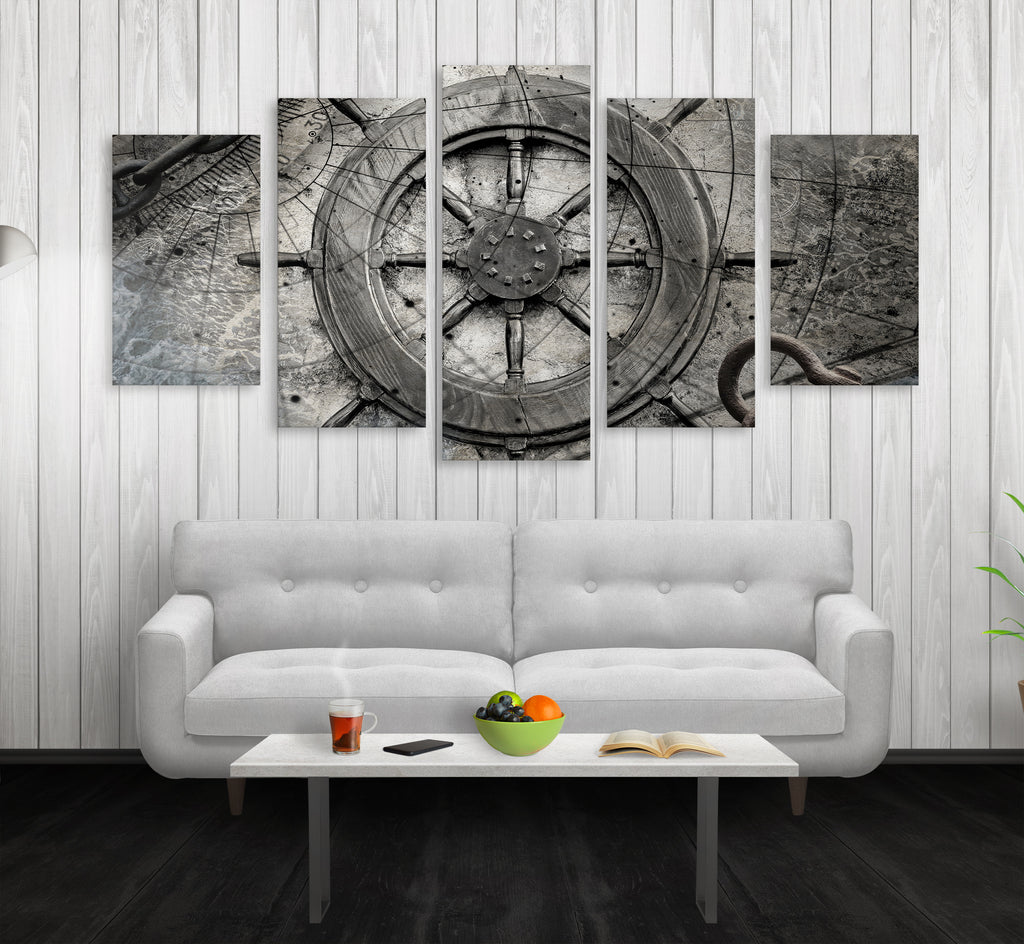 Captain Ships Wheel Canvas Wall Art Nautical Decor 5-PC Set - Royal Crown Pro