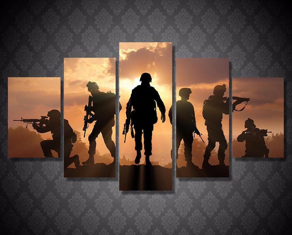 Soldiers Combat Sunset 5-Piece Wall Art Canvas - Royal Crown Pro