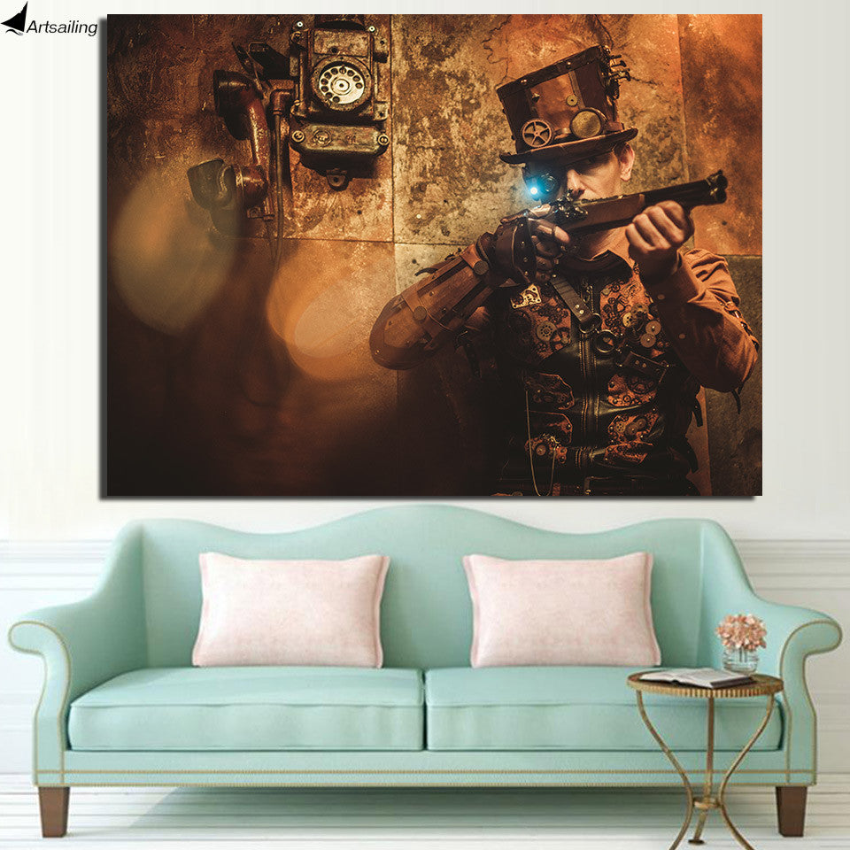 Steampunk Gun Vintage Canvas Wall Art - Royal Crown Pro