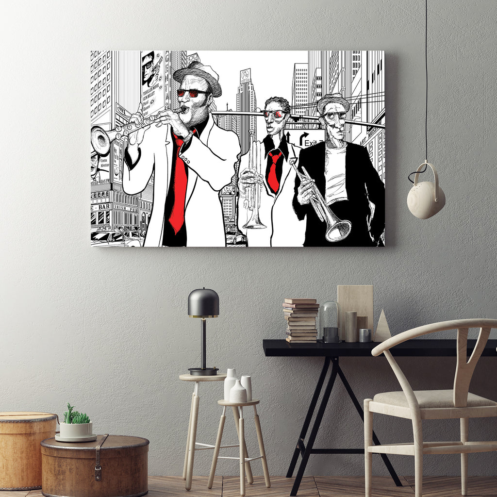 Street Jazz Trio Abstract Framed Canvas Wall Art - Royal Crown Pro