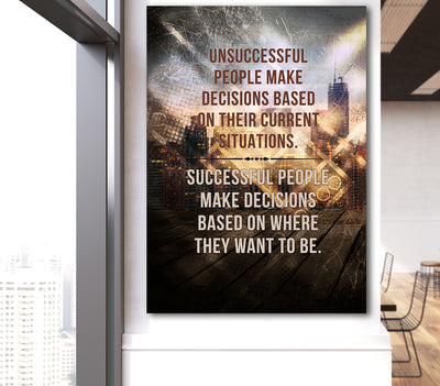 Successful People Make Decisions Based On Where They Want To Be Canvas Wall Art - Royal Crown Pro
