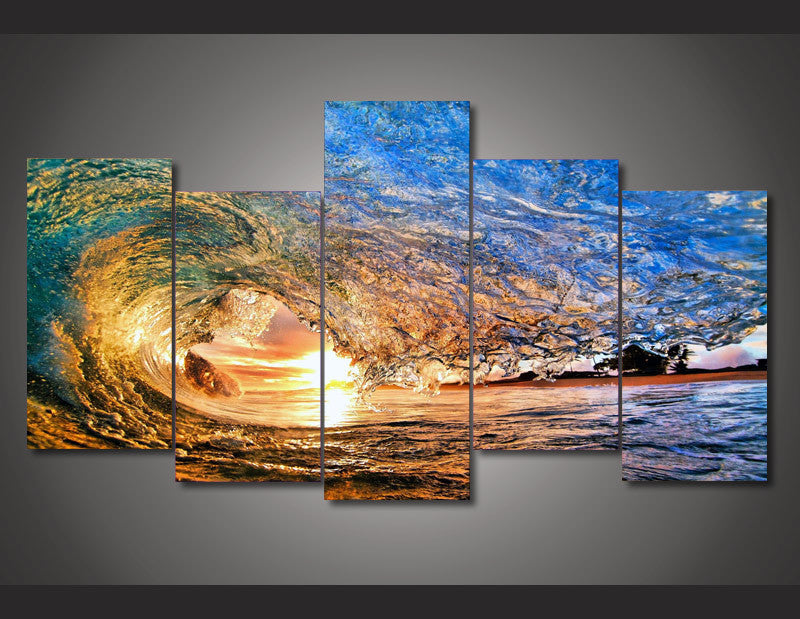 Sunset Wave Reflections 5-Piece Wall Art Canvas - Royal Crown Pro