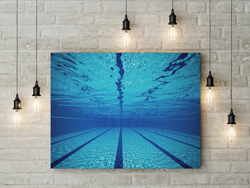 Swimming Pool Art Swimmers Gift Framed Canvas Wall Art - Royal Crown Pro