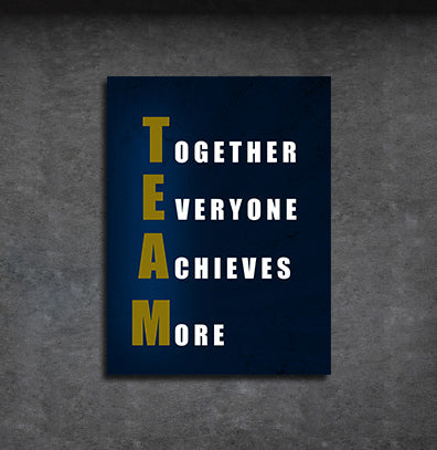 TEAM Together Everyone Achieves More Motivational Framed Wall Art - Royal Crown Pro